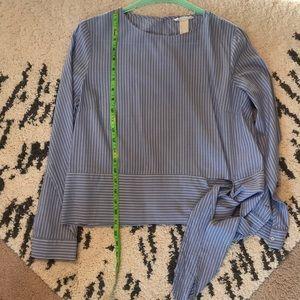 Tie waist striped blouse